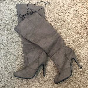 Chinese Laundry Shoes - CL By Chinese Laundry Taupe Suede Knee High Boot